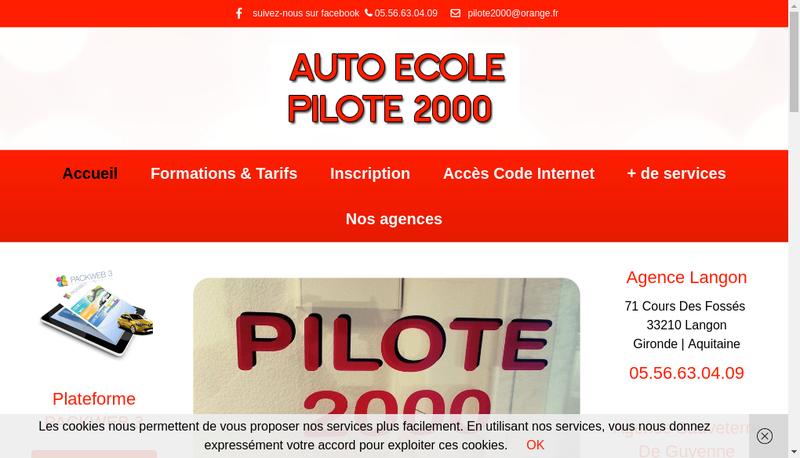 Capture d'écran du site de Pilote 2000 SARL