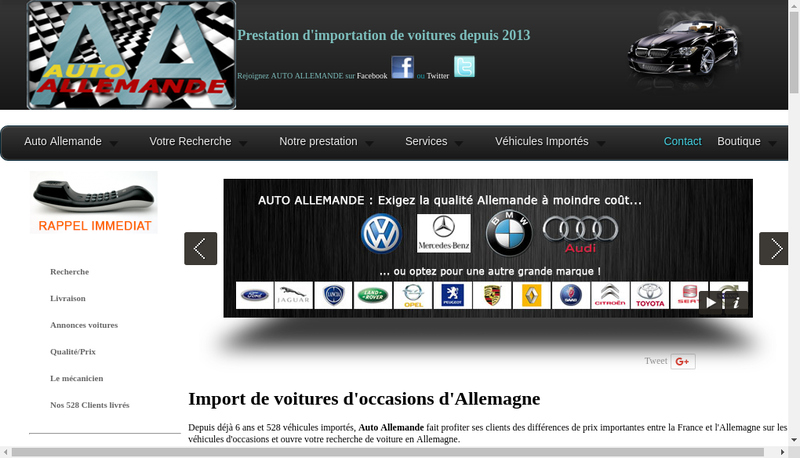 Capture d'écran du site de Euro Voiture