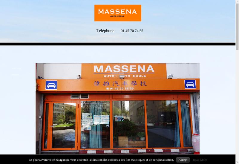 Capture d'écran du site de Auto Ecole Massena