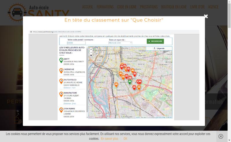 Capture d'écran du site de Auto Ecole Santy
