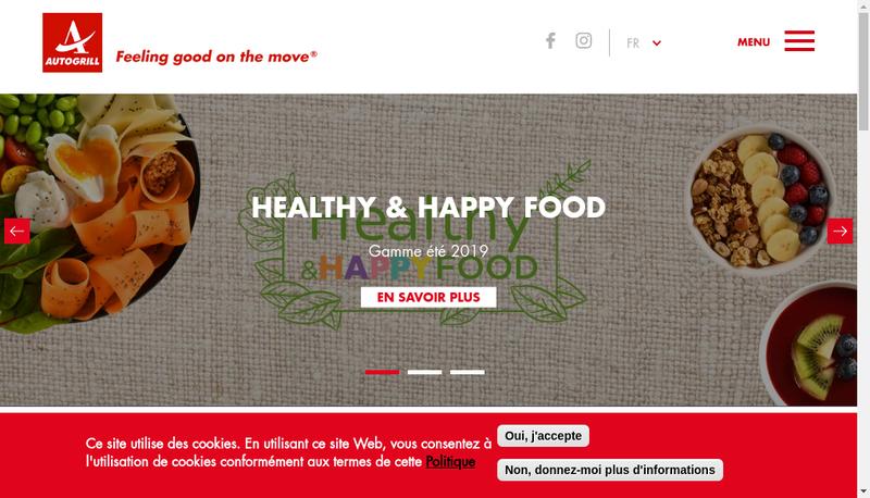 Capture d'écran du site de Autogrill Cote France