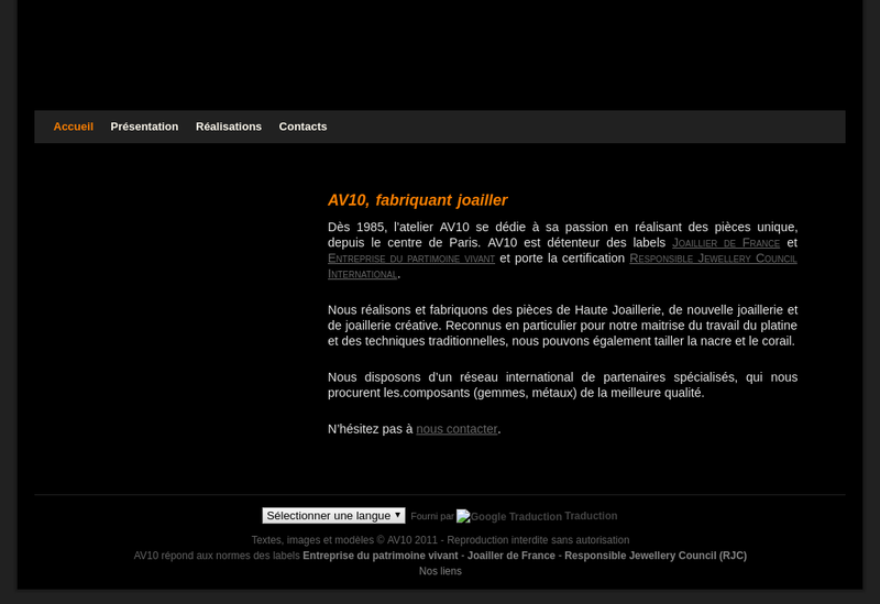 Capture d'écran du site de Av 10 Ewa Aveva Vendome