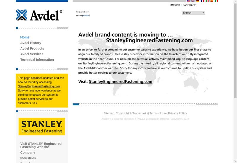 Capture d'écran du site de Avdel France SAS