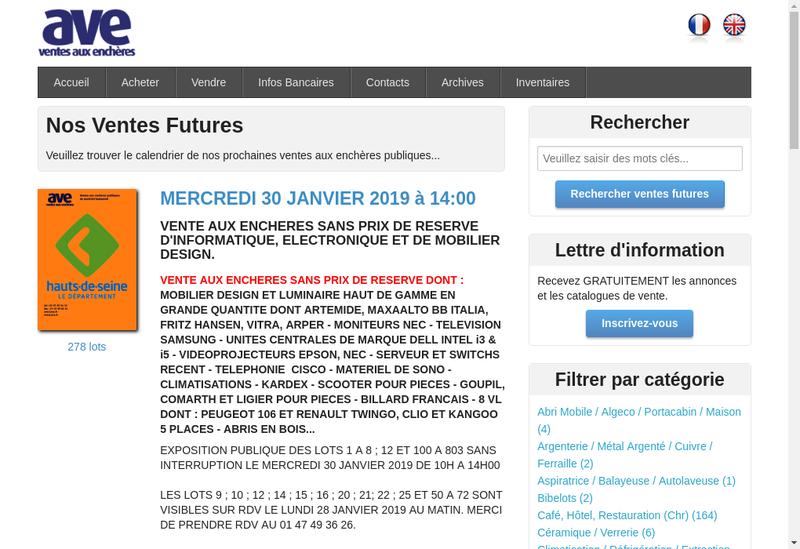 Capture d'écran du site de AVE