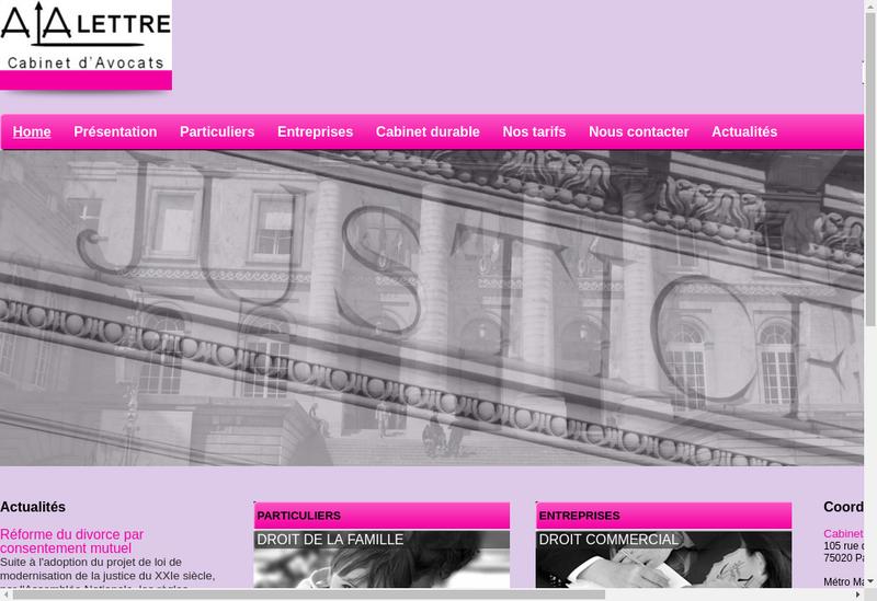 Capture d'écran du site de À la Lettre