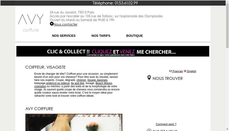 Capture d'écran du site de AVY