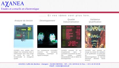 Capture d'écran du site de Axanea