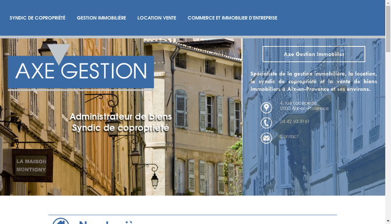 Capture d'écran du site de Axe Gestion