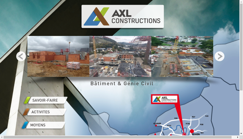 Capture d'écran du site de Axl Constructions