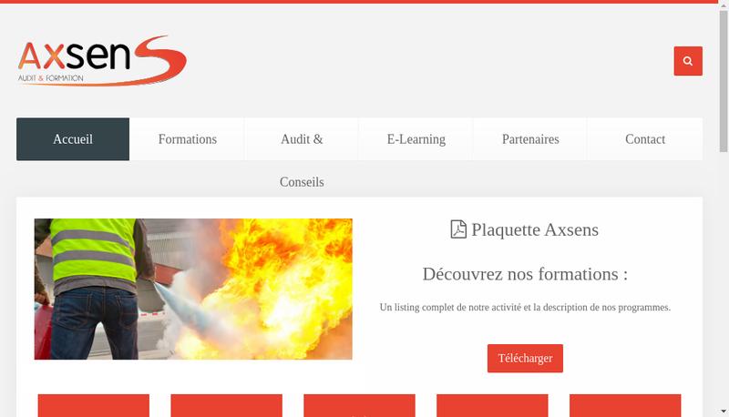 Capture d'écran du site de Axsens