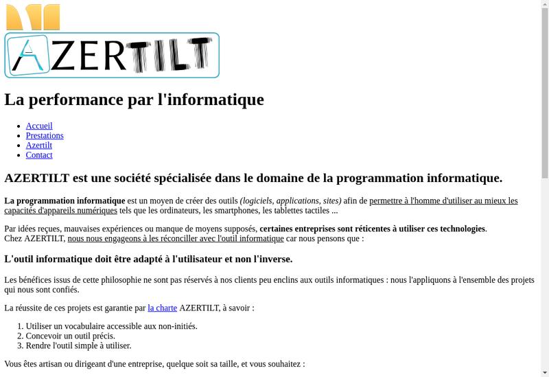 Capture d'écran du site de Azertilt