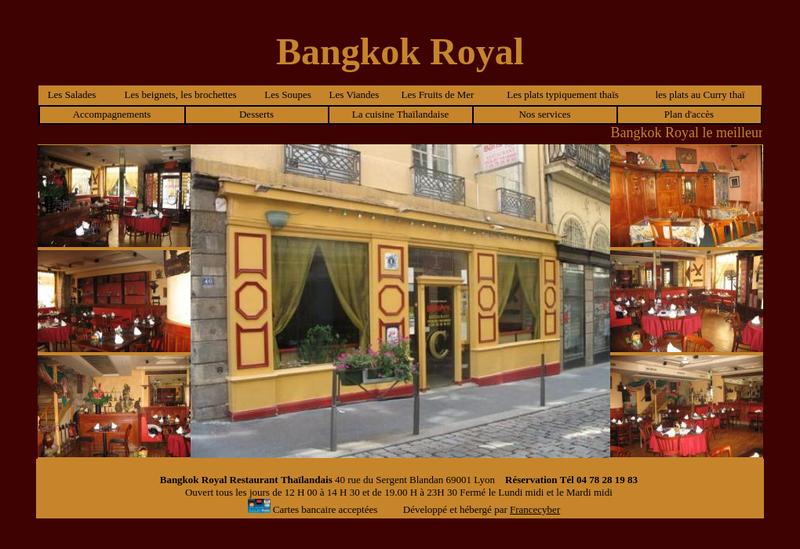 Capture d'écran du site de Bangkok Royal