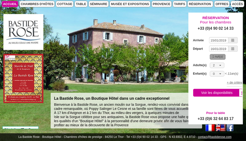 Capture d'écran du site de La Bastide Rose