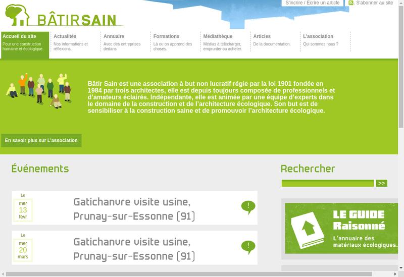 Capture d'écran du site de Batir Sain