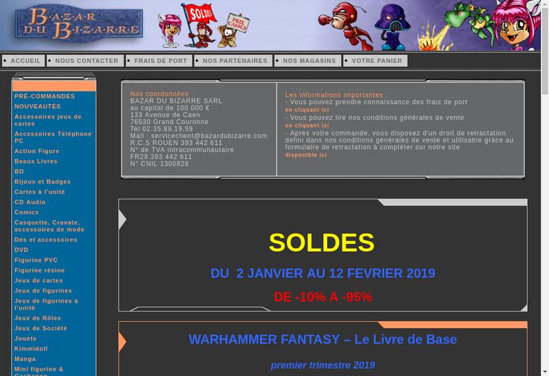 Capture d'écran du site de Bazar du Bizarre