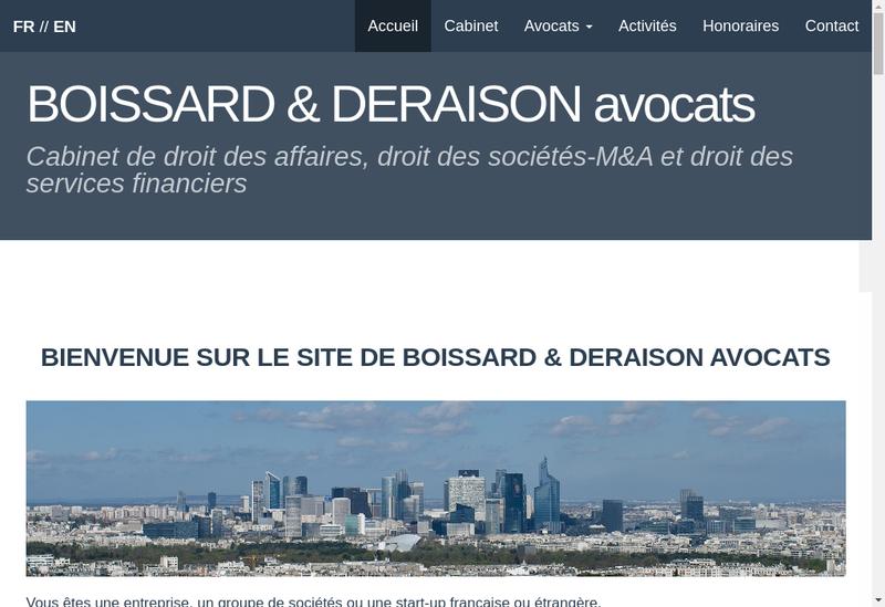 Capture d'écran du site de Boissard & Deraison Avocats