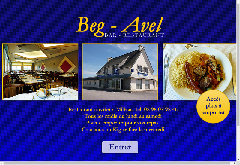 Capture d'écran du site de Restaurant Beg Avel