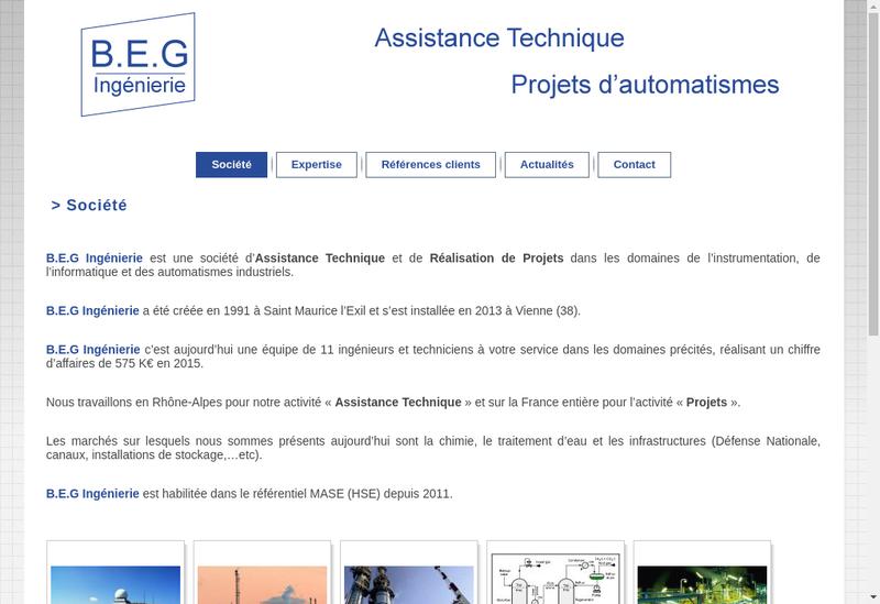 Capture d'écran du site de BEG Ingenierie