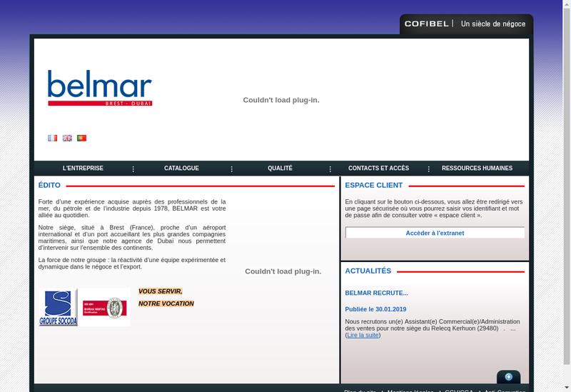 Capture d'écran du site de Belmar