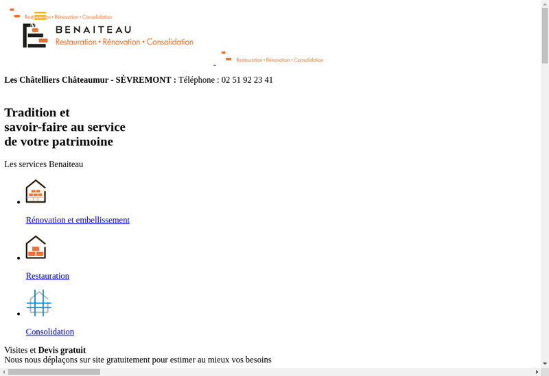 Capture d'écran du site de Entreprise Benaiteau