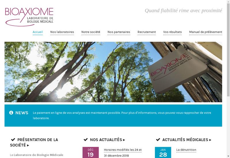 Capture d'écran du site de Bioaxiome