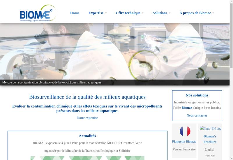 Capture d'écran du site de Biomae