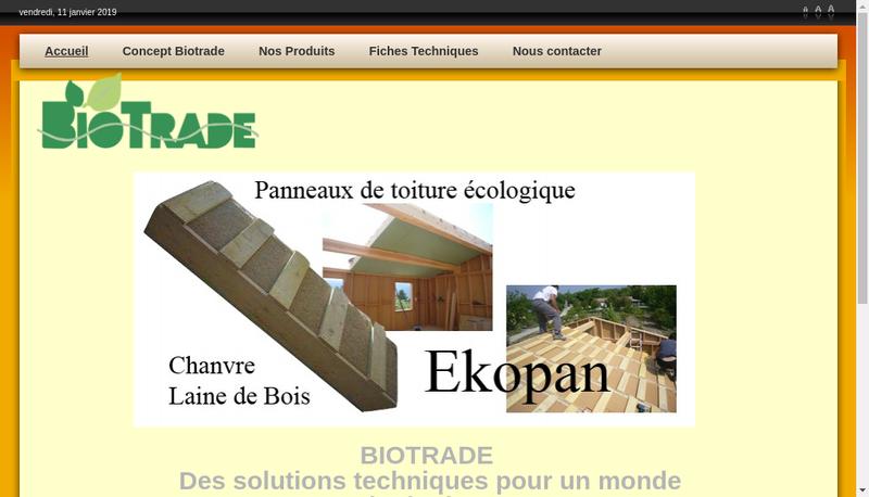 Capture d'écran du site de Biotrade