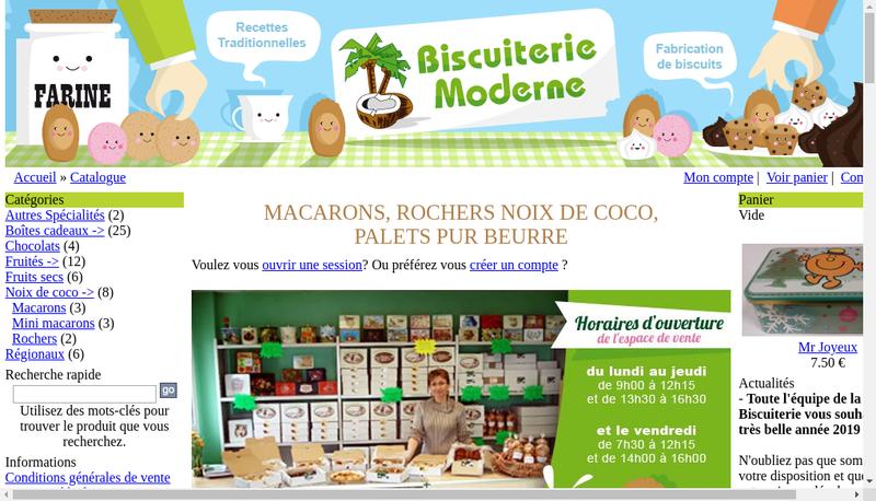 Capture d'écran du site de Biscuiterie Moderne SA