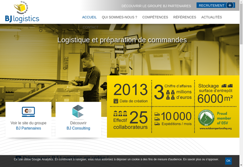 Capture d'écran du site de Bj Logistics