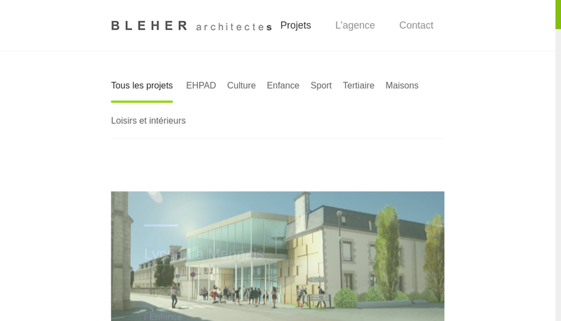 Capture d'écran du site de Bleher Architectes