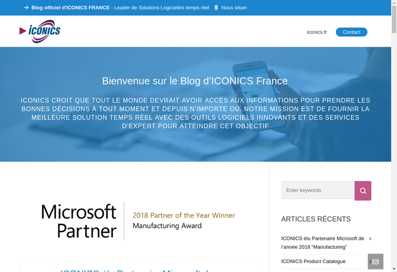 Capture d'écran du site de Iconics France