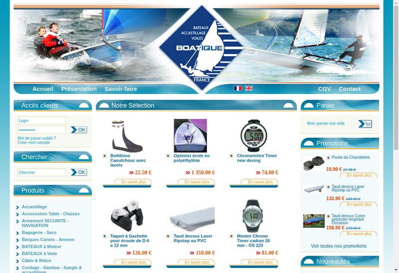 Capture d'écran du site de Boatique Diffusion
