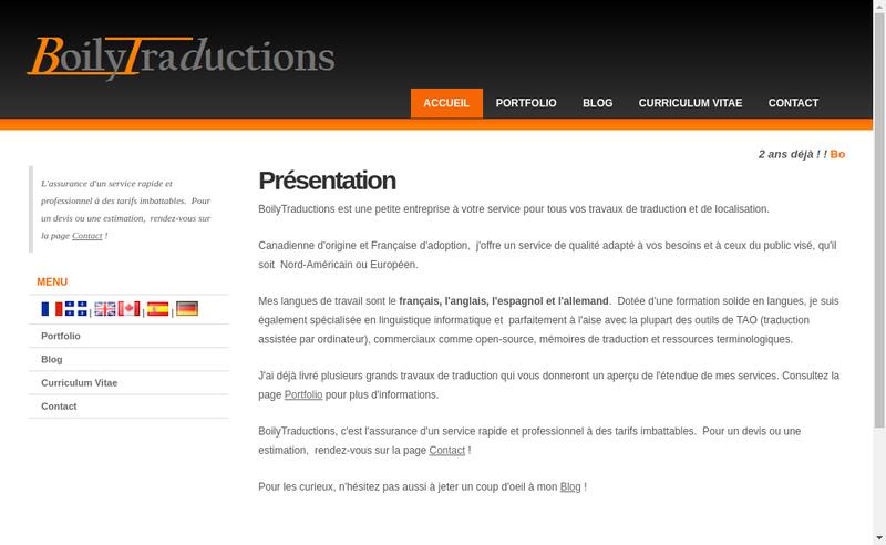 Capture d'écran du site de Gabrielle Boily Simard