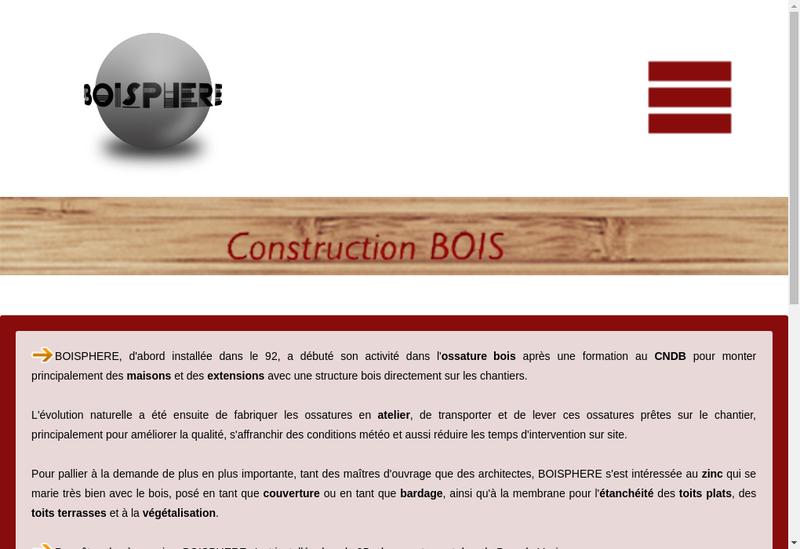 Capture d'écran du site de Boisphere SARL
