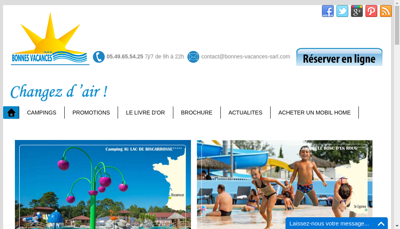 Capture d'écran du site de Bonnes Vacances