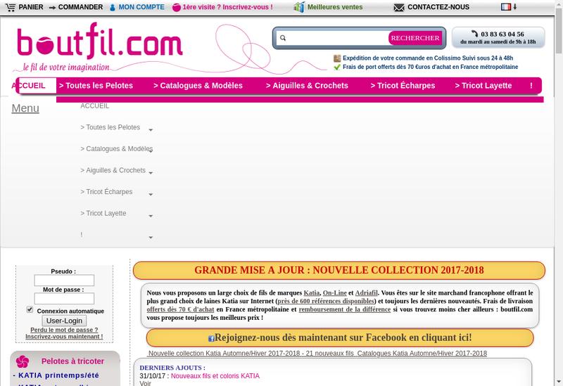 Capture d'écran du site de Boutfil
