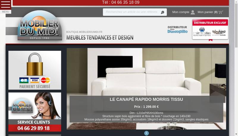 Capture d'écran du site de Mobilier du Midi