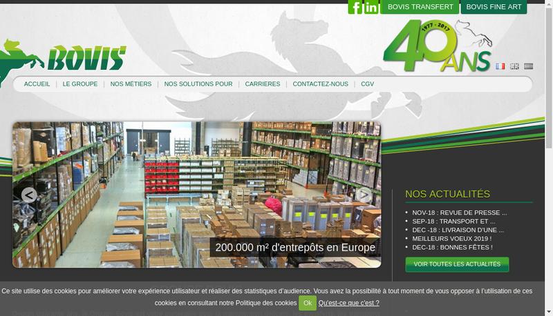Capture d'écran du site de Bovis Auvergne