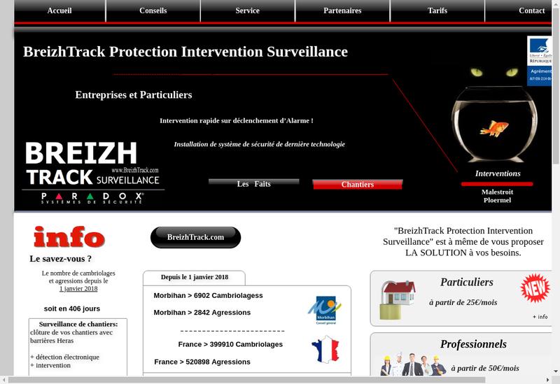 Capture d'écran du site de Breizhtrack Protection Intervention Surveillance