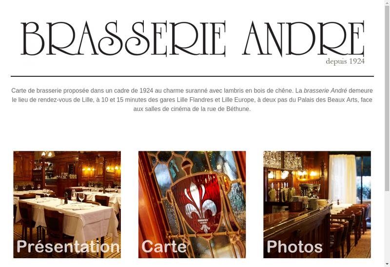 Capture d'écran du site de Brasserie Andre