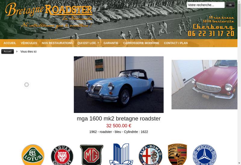 Capture d'écran du site de Bretagne Roadster