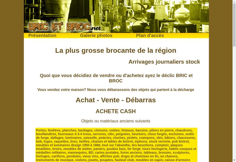 Capture d'écran du site de Bric et Broc