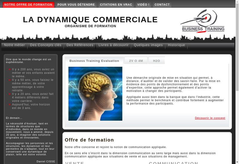 Capture d'écran du site de Business Training