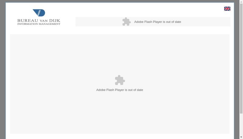 Capture d'écran du site de Bureau Van Dijk Information Management