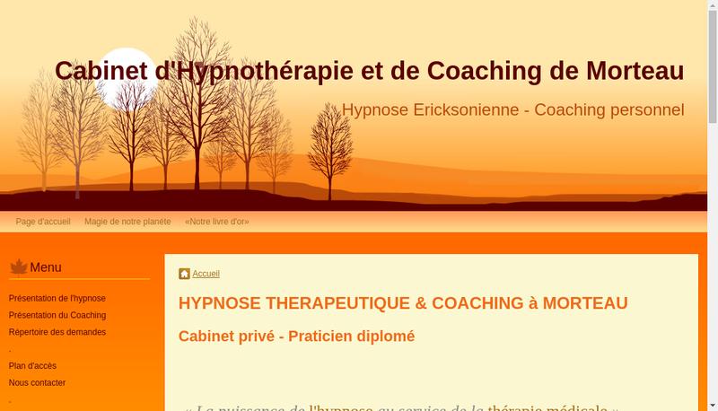 Capture d'écran du site de Cabinet d'Hypnotherapie et de Coaching