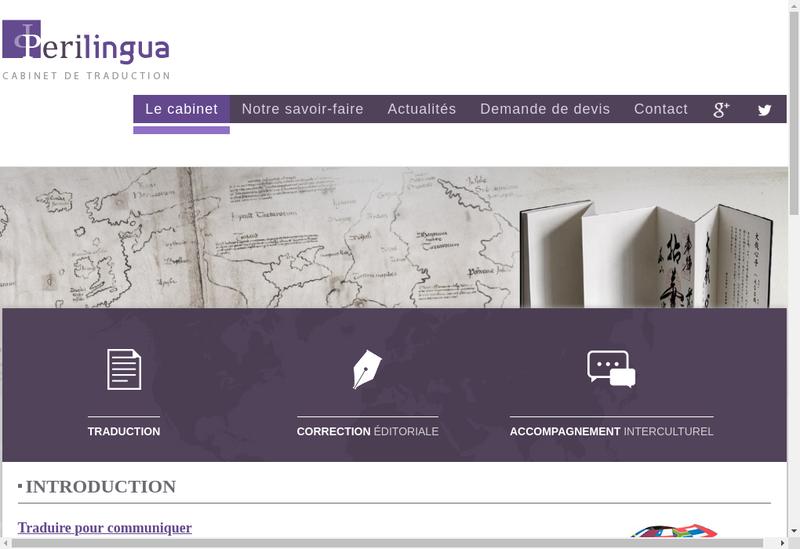 Capture d'écran du site de Cabinet Perilingua