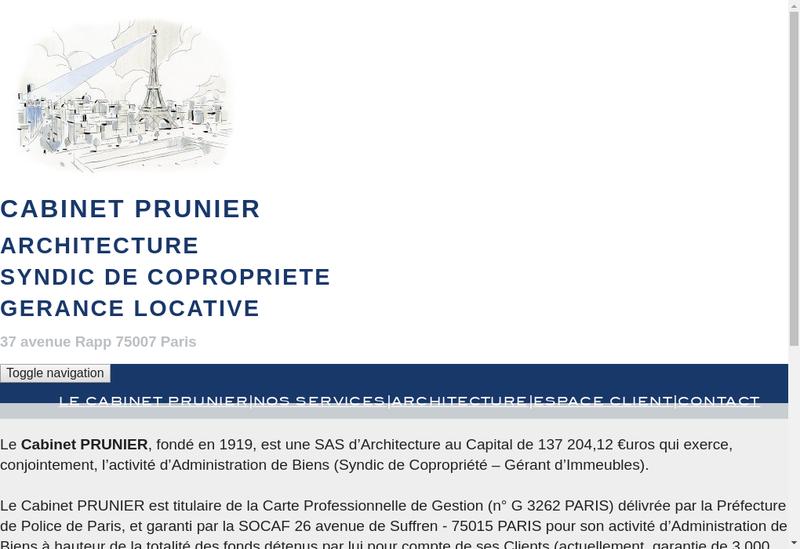 Capture d'écran du site de Cabinet Prunier