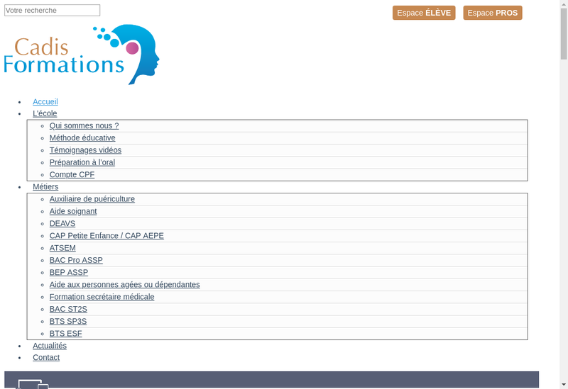Capture d'écran du site de Cadis Formations