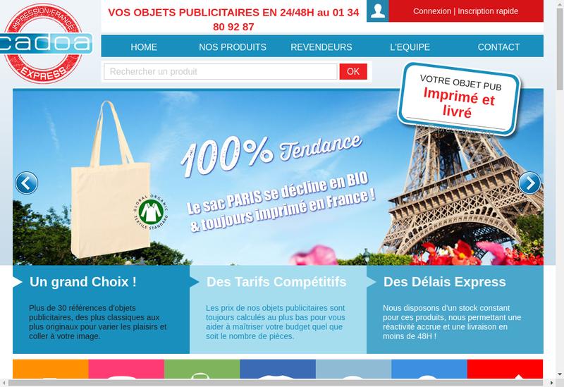 Capture d'écran du site de Cadoa