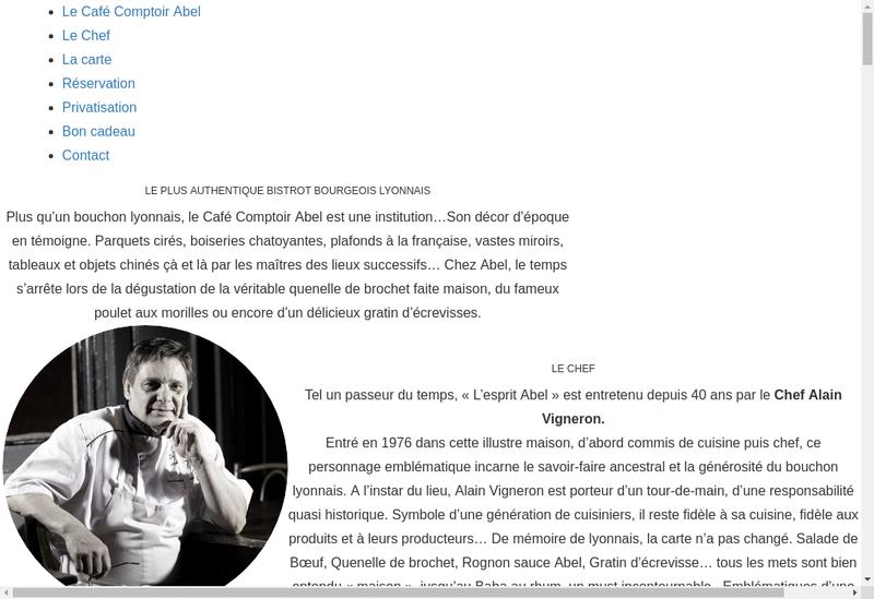 Capture d'écran du site de Cafe Comptoir Abel